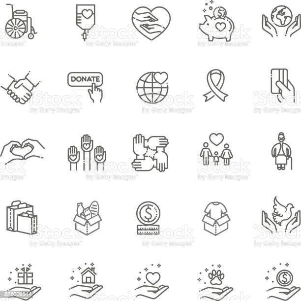 Charity modern vector line design icons and pictograms set vector id828009044?b=1&k=6&m=828009044&s=612x612&h=g4cdcbodm2ixluitkwev89cexvukiyuizervegtb69q=