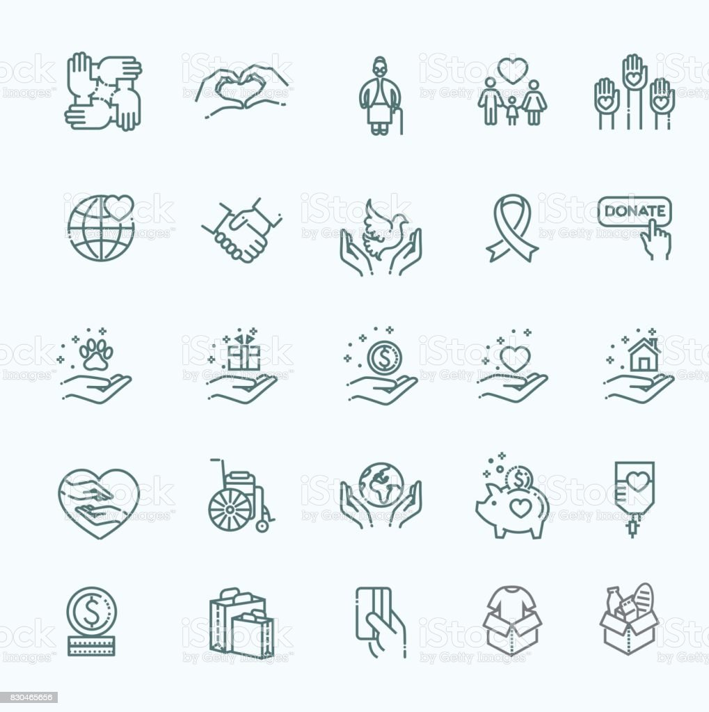 Charity - modern vector line design icons and pictograms set. vector art illustration