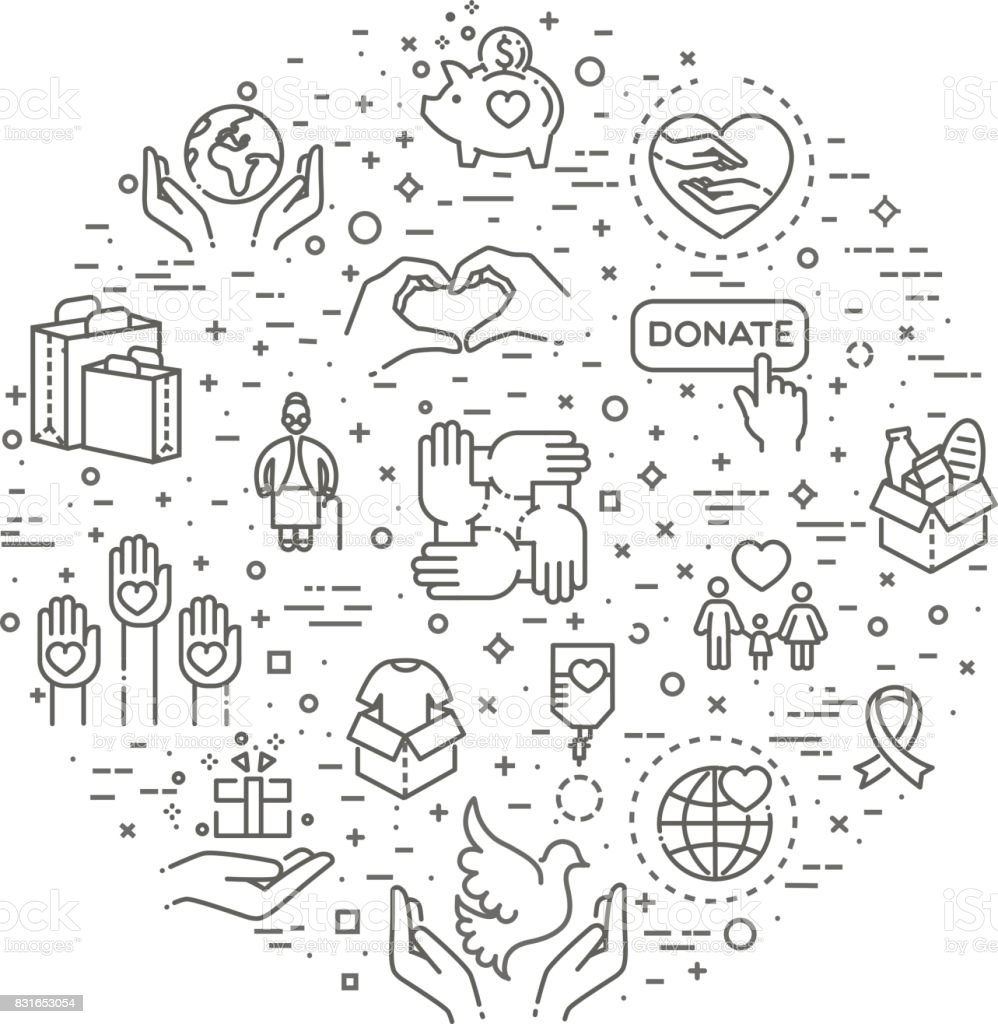 Charity - modern vector line design icons and pictograms set.