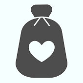 Charity Money solid icon. Bag with heart on a material vector illustration isolated on white. Money bag glyph style design, designed for web and app. Eps 10