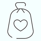 Charity Money thin line icon. Bag with heart on a material vector illustration isolated on white. Money bag outline style design, designed for web and app. Eps 10