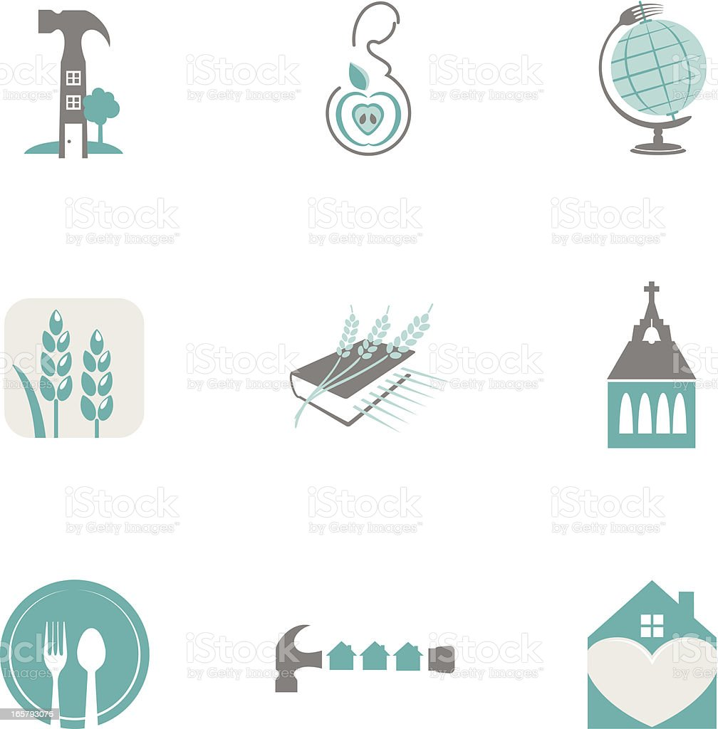 Charity Non-Profit Icon Set royalty-free stock vector art