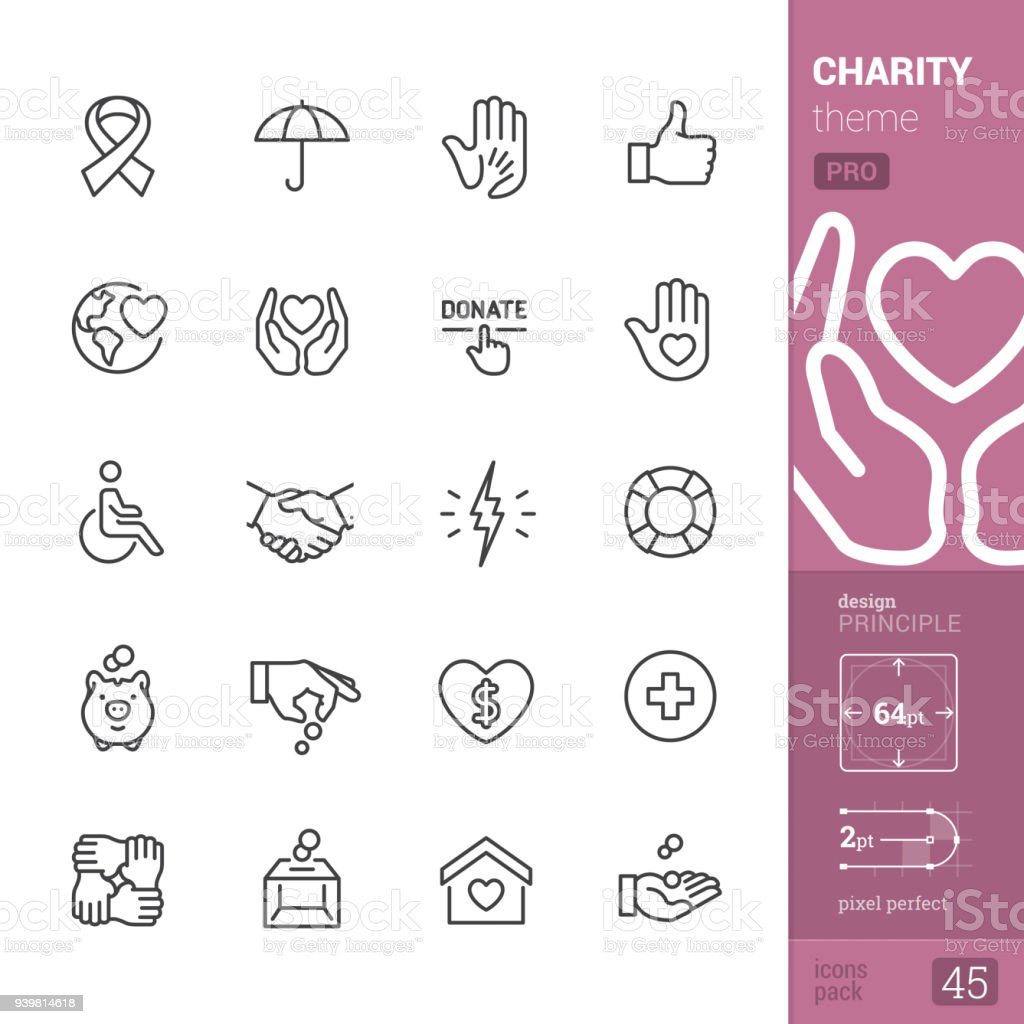 Charity, outline icons - PRO pack vector art illustration