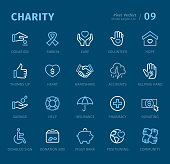 Charity - 20 three-color outline icons with captions / Pixel Perfect Set #09 Icons are designed in 48x48pх square, outline stroke 2px.  First row of outline icons contains: Donation, Ribbon, Care, Volunteer, Hope;  Second row contains: Thumbs Up, Heart, Handshake, Accidents, Helping Hand;  Third row contains: Savings, Help, Insurance, Pharmacy, Donating;  Fourth row contains: Disabled Sign, Donation Box, Piggy Bank, Positioning, Community.  Complete Captico icons collection - https://www.istockphoto.com/collaboration/boards/L98ewPMHpUStg1uF0pmcYg