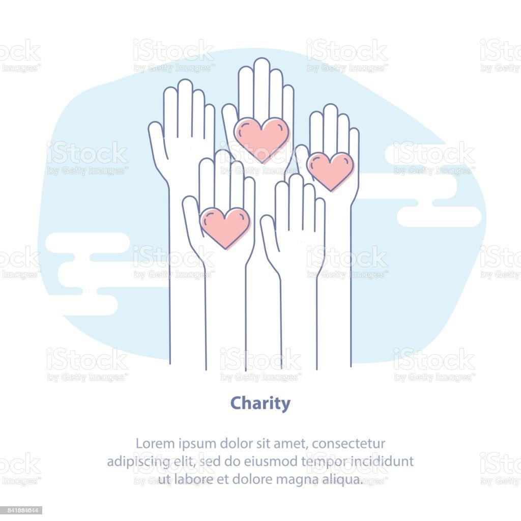 Charity, Philanthropy, Fundraising or Volunteer Symbol. Rising Hands for Help. vector art illustration