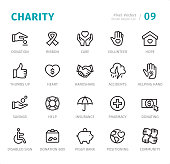 Donation and Charity - 20 Outline Style - Single line icons with captions / Set #09 / Designed in 48x48pх square, outline stroke 2px.  First row of outline icons contains: Donation, Ribbon, Care, Volunteer, Hope;  Second row contains: Thumbs Up, Heart, Handshake, Accidents, Helping Hand;  Third row contains: Savings, Help, Insurance, Pharmacy, Donating;  Fourth row contains: Disabled Sign, Donation Box, Piggy Bank, Positioning, Community.  Complete Signico collection - https://www.istockphoto.com/collaboration/boards/VT_7sDWo80OLh7foVxchBQ