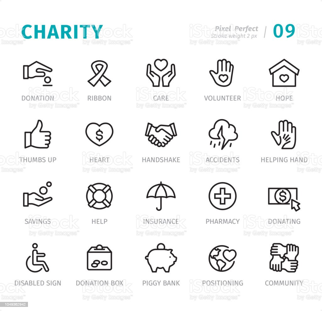 Charity - Pixel Perfect line icons with captions vector art illustration