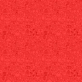 Charity Red Line Seamless Pattern