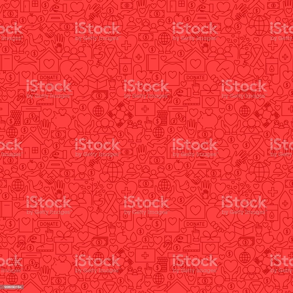 Charity Red Line Seamless Pattern vector art illustration