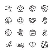 Charity & Relief Work theme related vector icons.
