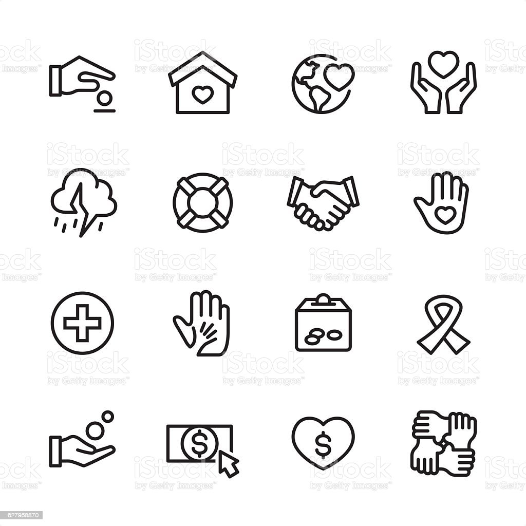 Charity & Relief Work - outline style vector icons vector art illustration