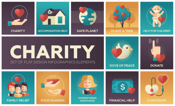 Charity - set of flat design infographics elements vector art illustration