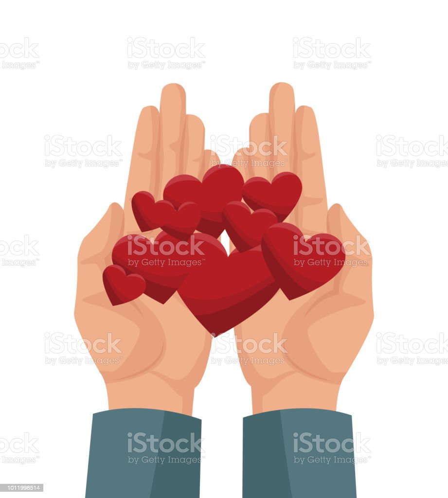 Charity share and love vector art illustration
