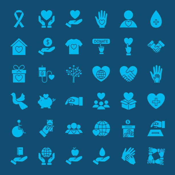 stockillustraties, clipart, cartoons en iconen met liefdadigheid vaste web icons - vaste stof