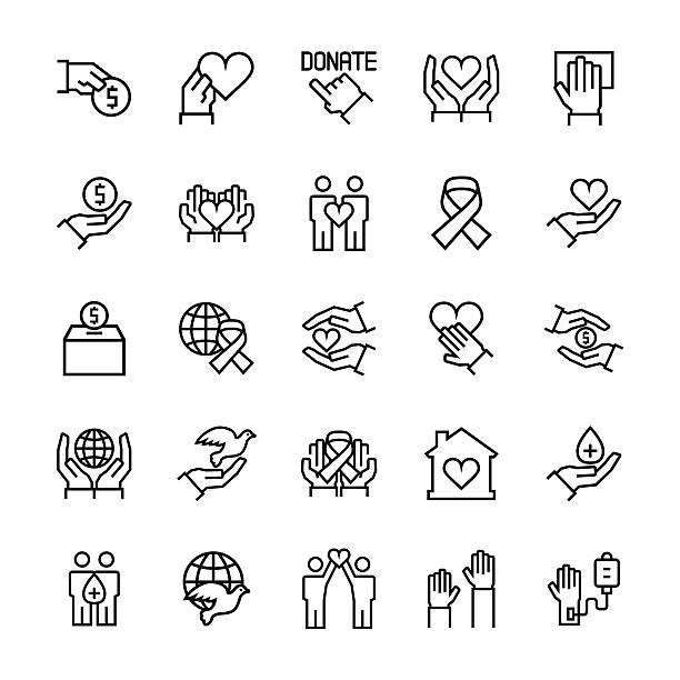 charity, sponsorship,donation and donor icon set. - beileid stock-grafiken, -clipart, -cartoons und -symbole