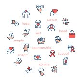 Charity, sponsorship,donation and donor icons in circle. Vector illustration.