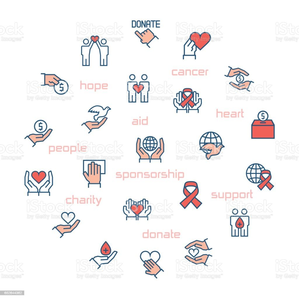 Charity, sponsorship,donation and donor icons in circle. Vector illustration. vector art illustration