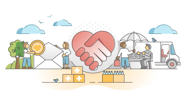 Charity support as social solidarity and help gifts donation outline concept vector art illustration