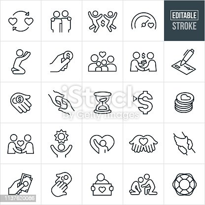 A set of charitable giving icons that include editable strokes or outlines using the EPS vector file. The icons include charitable donations, helping hand, giving money, family in need, philanthropists, donors, check, needy, fundraising, giving hope, assisting the needy and other related icons.