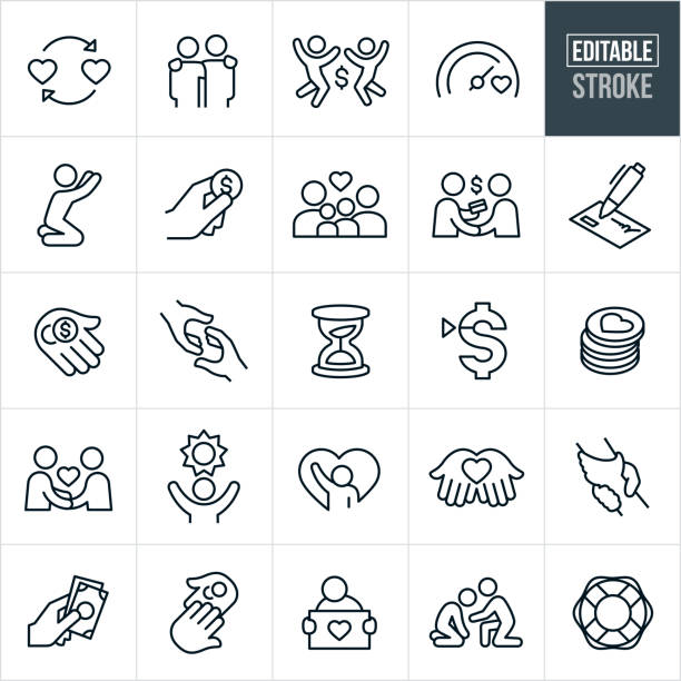 Charity Thin Line Icons - Editable Stroke A set of charitable giving icons that include editable strokes or outlines using the EPS vector file. The icons include charitable donations, helping hand, giving money, family in need, philanthropists, donors, check, needy, fundraising, giving hope, assisting the needy and other related icons. happy family stock illustrations