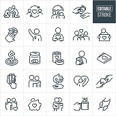A set of charitable giving icons that include editable strokes or outlines using the EPS vector file. The icons include a poor person being assisted by another person, love given to the needy, an umbrella being held over a homeless person, cash being given to another person, volunteer with arm raised, family of four, homeless person holding a sign, fundraiser goal, money jar, canned food, person holding out cash, wallet with a heart, online donation, arm around shoulder, piggy bank, coins being dropped in a tin cup, clasped hands and others.