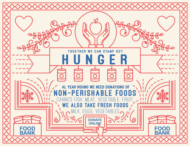 Charity Thin Line Outline Pattern Background Donation Poster surrounded by a thin line pattern design with icons and text. food bank stock illustrations