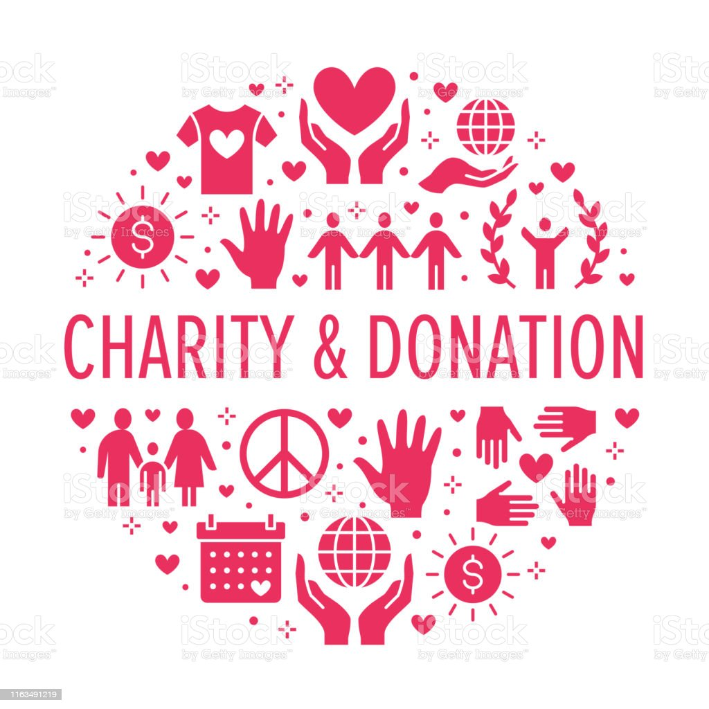 Charity Vector Circle Banner With Flat Silhouette Icons Donation Nonprofit Organization Ngo Giving Help Illustration Glyph Signs For Donating Money Volunteer Community Poster Stock Illustration Download Image Now Istock