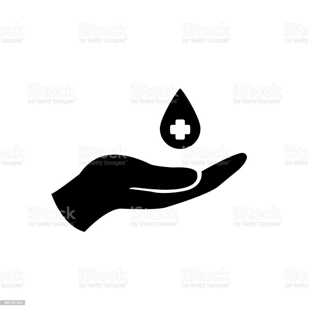 Charity vector icon hands and blood. blood donation, transfusion icon vector art illustration