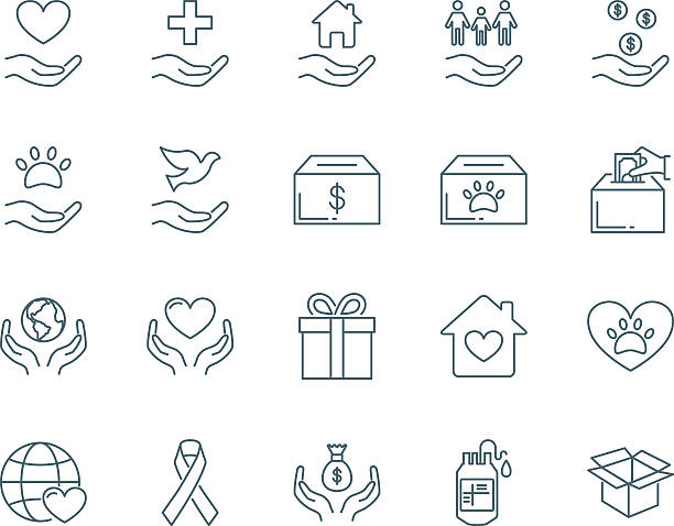 Charity vector icons set modern line style Charity vector icons set modern line style animal shelter stock illustrations