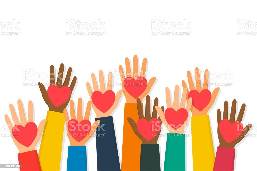 慈善団体、ボランティア、寄付コンセプト。赤いハートで人間の手を上げた。子供の手は心臓のシンボルを保持しています - アシスタントのロイヤリティフリーベクトルアート