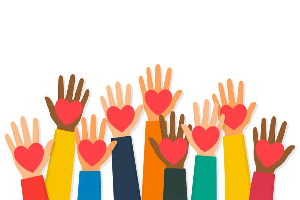 charity, volunteering and donating concept. raised up human hands with red hearts. children's hands are holding heart symbols - помощь stock illustrations