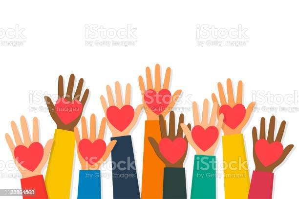 Välgörenhet Volontärarbete Och Donera Koncept Upp Mänskliga Händer Med Röda Hjärtan Barns Händer Håller Hjärt Symboler-vektorgrafik och fler bilder på AIDS