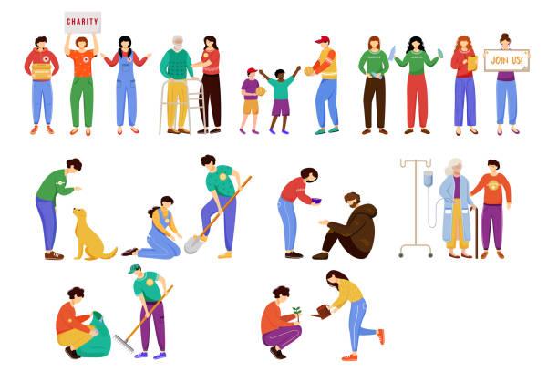 stockillustraties, clipart, cartoons en iconen met liefdadigheid werkt platte vector illustraties set. onzelfzuchtige vrijwilligers, jonge activisten geïsoleerd stripfiguren. omgeving en dakloze dierenzorg. ouderen en arme mensen ondersteunen ontwerpelementen - sociale dienst