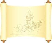 Charles Bridge in Prague. Sketch. Vector illustration.