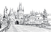 Vector drawing of tower on end of Charles Bridge and St. Vitus Cathedral in Prague