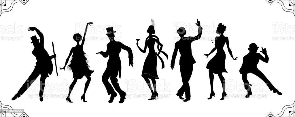 Charleston Party. Gatsby style set. Group of retro woman and man black silhouette dancing charleston. Vintage style.retro silhouette dancer.1920 party vector background.Swing dance girl. vector art illustration