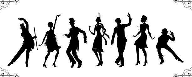 illustrations, cliparts, dessins animés et icônes de parti de charleston. ensemble de gatsby de style. groupe de femme rétro et silhouette homme noir danse charleston. style.retro vintage silhouette dancer.1920 partie vectorielle de fond. fille de danse swing. - danser