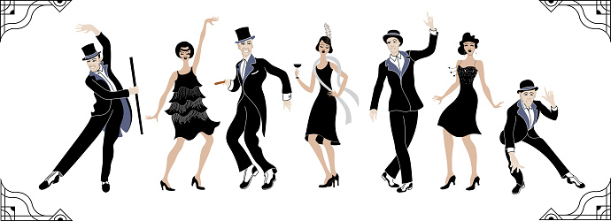 Charleston Party. Gatsby style set. Group of retro woman and man dancing charleston. Vintage style. retro silhouette dancer.1920 party vector background.Swing dance