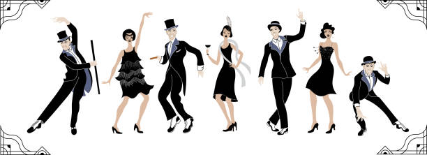 Charleston Party. Gatsby style set. Group of retro woman and man dancing charleston. Vintage style. retro silhouette dancer.1920 party vector background.Swing dance Group of retro woman and man dancing charleston. Vintage style. retro silhouette dancer.1920 party vector background.Swing dance southern usa illustrations stock illustrations