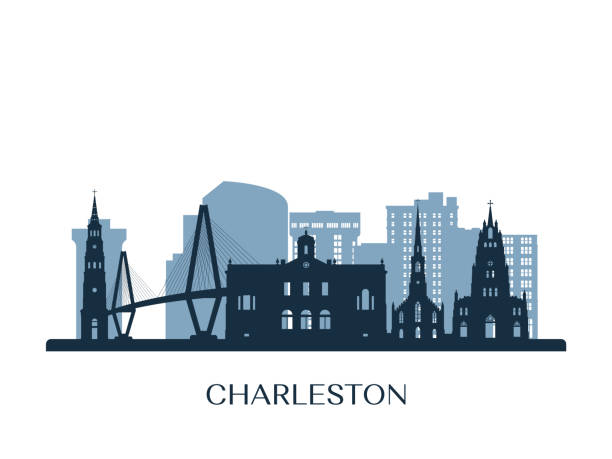 Charleston skyline, monochrome silhouette. Vector illustration. Charleston skyline, monochrome silhouette. Vector illustration. south carolina stock illustrations