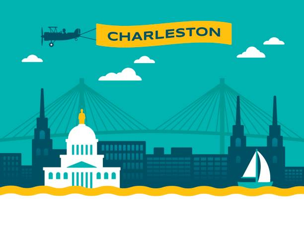 Charleston Skyline Charleston South Carolina USA skyline concept illustration. south carolina stock illustrations