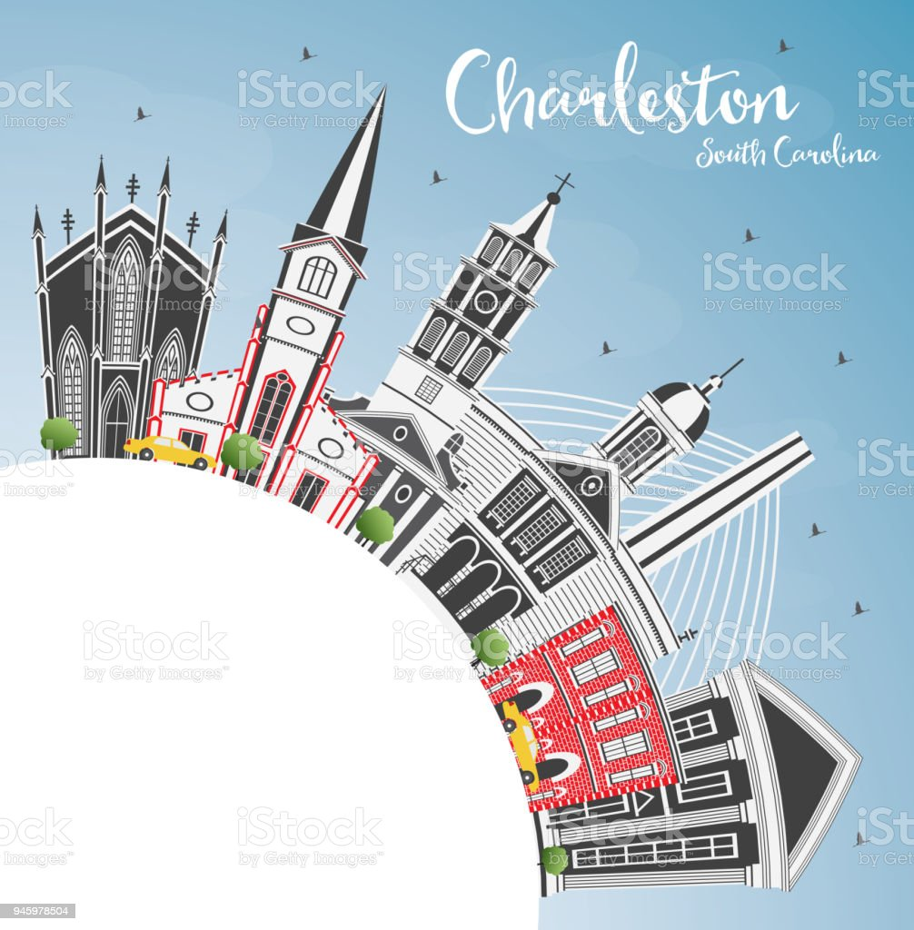 Charleston South Carolina City Skyline with Gray Buildings, Blue Sky and Copy Space. vector art illustration