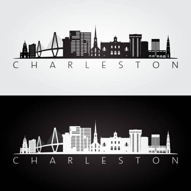 Charleston usa skyline and landmarks silhouette, black and white design, vector illustration. Charleston usa skyline and landmarks silhouette, black and white design, vector illustration. south carolina stock illustrations