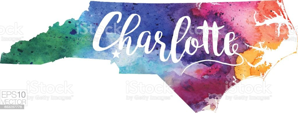 Charlotte, North Carolina, USA Vector Watercolor Map vector art illustration