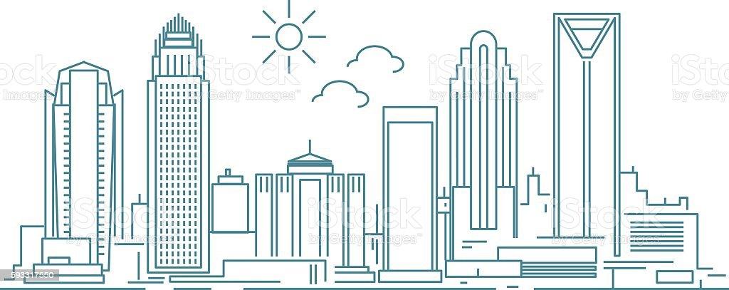 Charlotte skyline vector art illustration