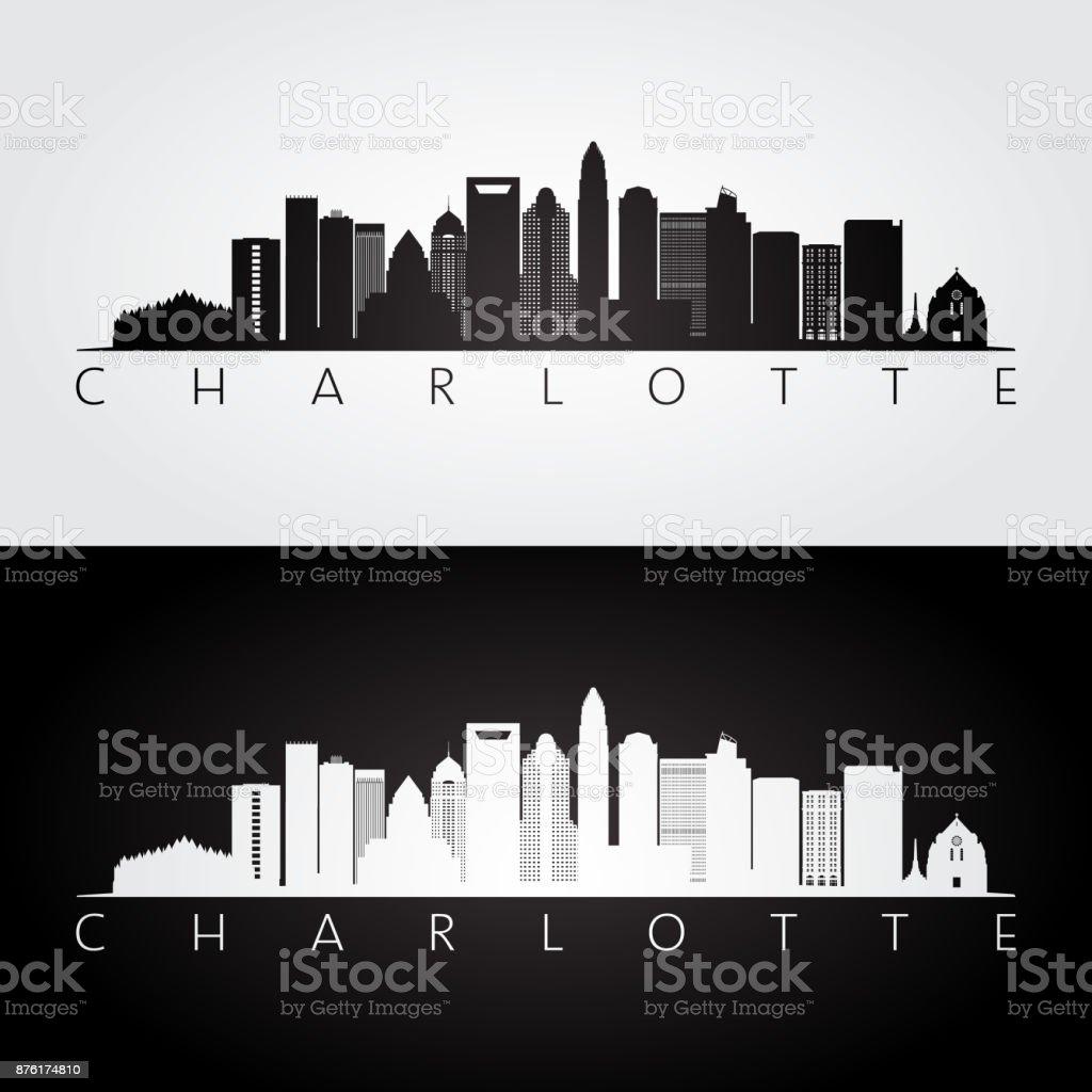 Charlotte usa skyline and landmarks silhouette, black and white design, vector illustration. vector art illustration