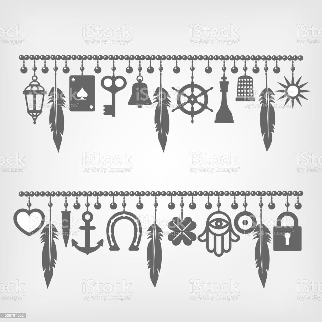 Charm Bracelets With Symbols Of Good Luck Stock Vector Art More