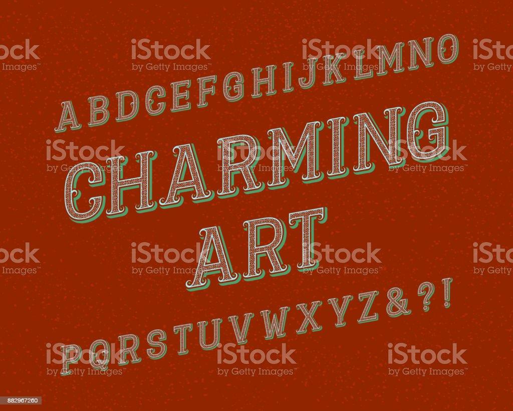 Charming Art typeface. Vintage font. Isolated english alphabet. vector art illustration