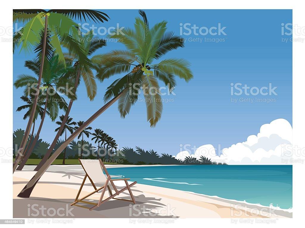 Charming Tropical Beach Scene vector art illustration