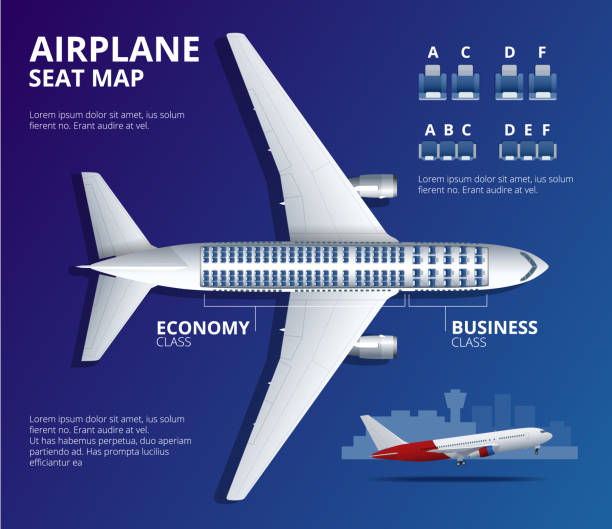 chart airplane seat, plan, of aircraft passenger. aircraft seats plan top view. business and economy classes airplane indoor information map. vector illustration of plane - airplane seat stock illustrations